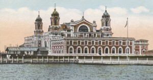 A vintage postcard shows the neo-Romanesque immigration facility at Ellis Island.