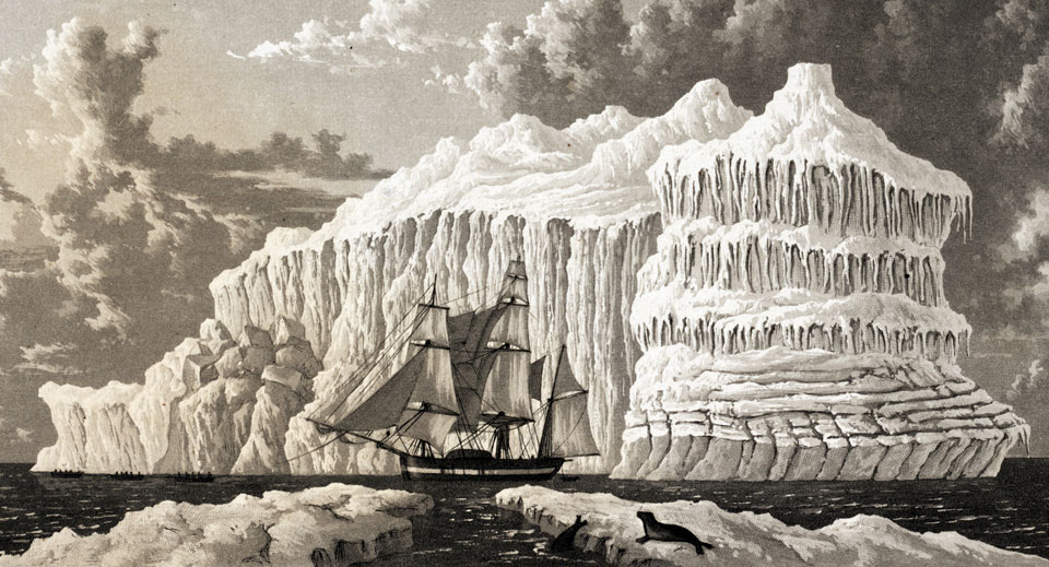 """HMS Hecla in Baffin Bay,"" by Frederick William Beechey, 1821. (Photo: Linda Hall Library)"
