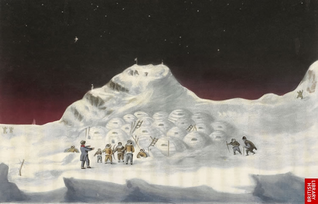 """Snow Cottages of the Boothians,"" nu Sir John Ross, 1835. (Photo: British Library)"