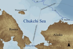 The Chukchi Sea, Wrangel Island in the upper left.
