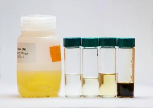 The team produced equivalents of (from left to right, in vials) gasoline, diesel #1, diesel #2, and vacuum gas oil. (Photo: L. Brian Stauffer)