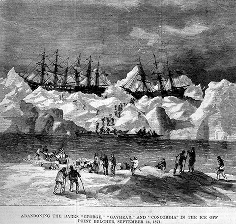Abandonment of the whaler, a contemporary engraving by Robert Schwemmer. (Photo courtesy of NOAA)