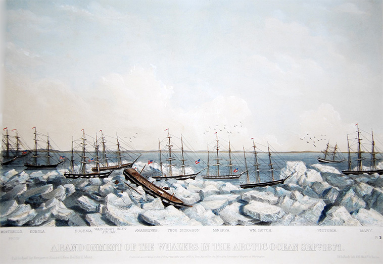 A contemporary lithograph showing the 1871 whaling disaster in progress. (Photo courtesy of NOAA)