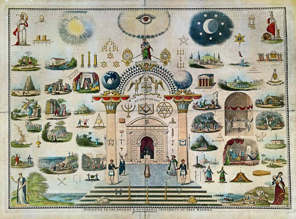 A late 19th century lithograph showing an array of Masonic symbols.