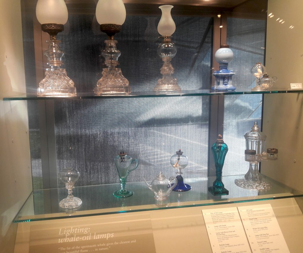Corning Museum of Glass collection of whale oil lamps